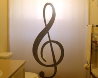 Treble Clef Shower Curtain, music bathroom decor, musical notes, extra long custom fabric colors