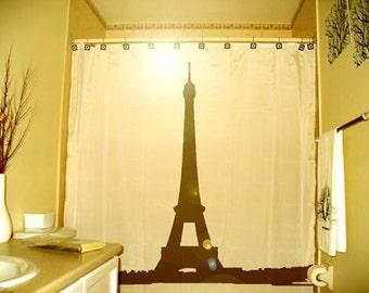 Eiffel Tower Shower Curtain, Paris bathroom decor, extra long custom fabric colors