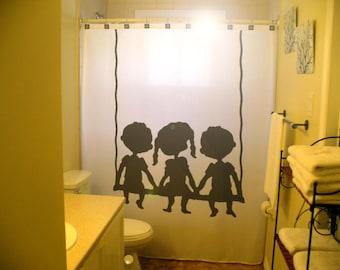 kids shower curtain, shared bathroom decor, extra long custom fabric colors