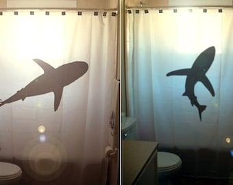 shark shower curtain, nautical bathroom decor, extra long custom fabric colors