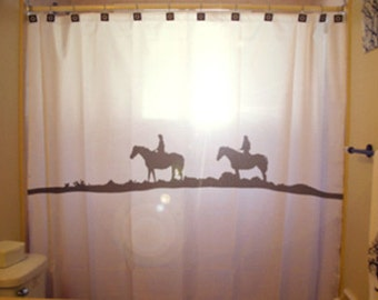 Horse Western Shower Curtain, Cowboy and Cowgirl bathroom decor, extra long custom fabric colors
