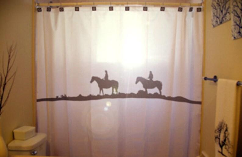 Horse Western Shower Curtain Cowboy Cowgirl Bathroom Decor
