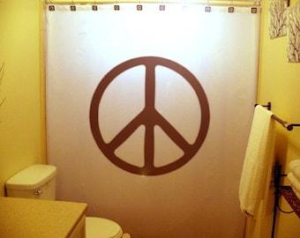 Peace sign Shower Curtain, 70s hippie Bathroom decor, extra long custom fabric colors