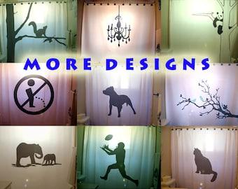 Custom Shower Curtain, Tree Squirrel, Chandelier, Panda, No Pee Pitbull Dog Blue Bird Elephant Football Black Cat bathroom decor kids