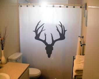 Deer Skull Shower Curtain, Trophy Hunting Antlers bathroom decor, magestic buck, extra long custom fabric colors