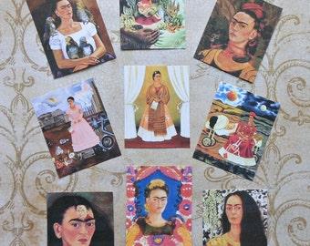 9 Frida STICKERS- Four different sizes- Beautiful Frida designs Frida Kahlo paintings Frida images Frida art stickers Frida crafts Frida art