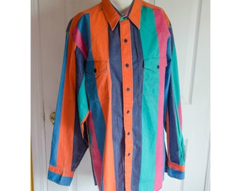 643cdca9 Vintage Wrangler Bright Striped Mens Western Shirt X-Long Tail