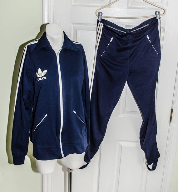 Mens André Gillier bleu Adidas survêtement rare Vintage des années 1970 avec un pantalon Stirup