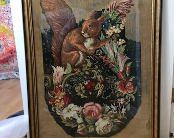 Large Antique 18th Century Squirrel Needlepoint Framed