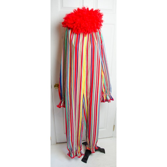 Vintage 1960's Clown Costume with Red Wig Hallowee