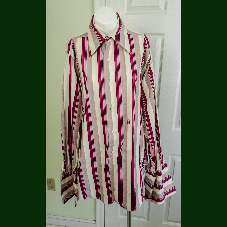 1970s Men's Shirt Styles – Vintage 70s Shirts for Guys Vintage 1960s 1970s Mens Mod Stripped Dress Oleg Cassini Shirt Frenchcuffs $65.00 AT vintagedancer.com
