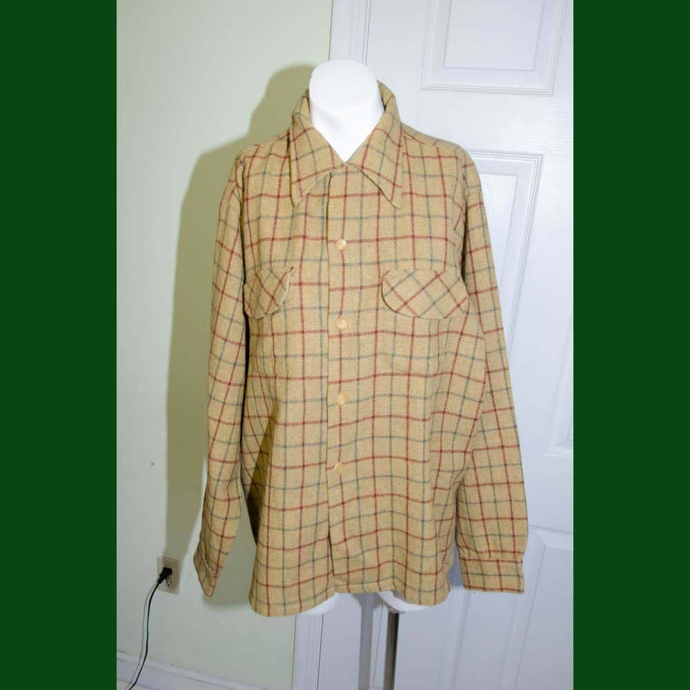 1950s Men's Ties, Bow Ties – Vintage, Skinny, Knit Vintage Mens 1950s Mustard Yellow Plaid Sports Work Flannel Wool Shirt $54.00 AT vintagedancer.com