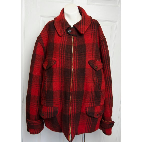 Vintage 1940's Red Plaid Wood Hunting Jacket
