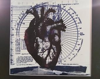 New wave-to my heart- original mixed media screenprinted art piece