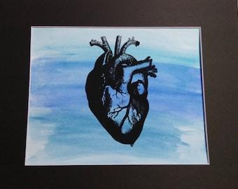 to my heart- original mixed media screenprinted art piece