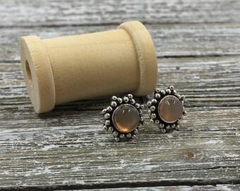 Gemstone Sterling Silver Starburst Stud Earrings - Peach Moonstone