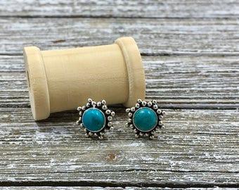 Gemstone Sterling Silver Starburst Stud Earrings - Turquoise