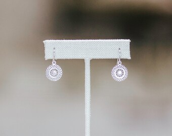 Sterling Silver Filigree Sun Earrings