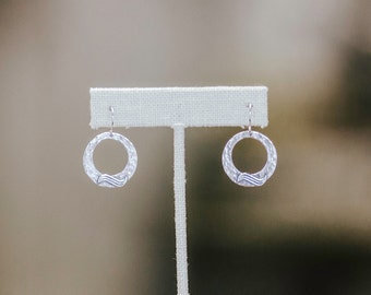 Hammered Sterling Silver Round Wave Earrings