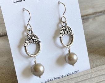 Worn on When Calls the Heart - Swarovski Pearl and Ornate Hoop Earrings