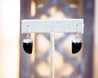 Modern Flat Gemstone Earrings, Sterling Silver and Onyx - Worn on CW's Riverdale