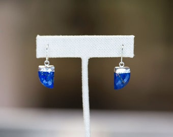 Modern Flat Gemstone Earrings, Sterling Silver and Lapis Lazuli - Featured on  HuffPost
