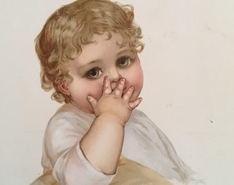 Besos!  Oversized Victorian Card:  Illustrated Baby Throwing a Kiss, c 1900