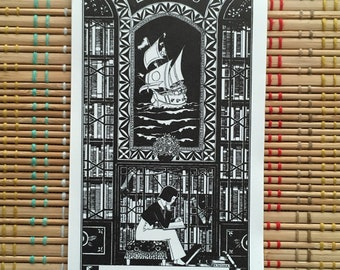 Beautiful Vintage Book Plates:  Reproduction Ben Kutcher, Boy in Library