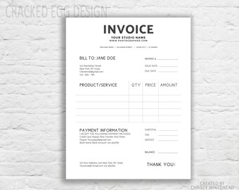 invoice template business invoice printable invoice photography invoice invoice form creative invoice photoshop