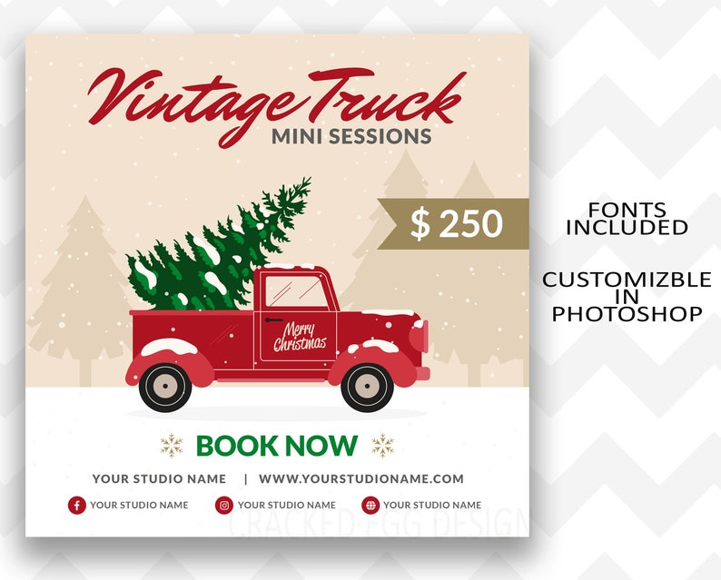 Christmas Truck Mini Session Template Red Truck Christmas image 0