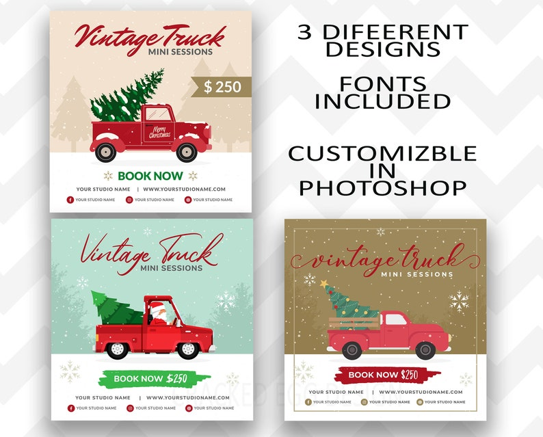 3 Vintage Truck Mini Session Templates to Choose From or Mix image 0