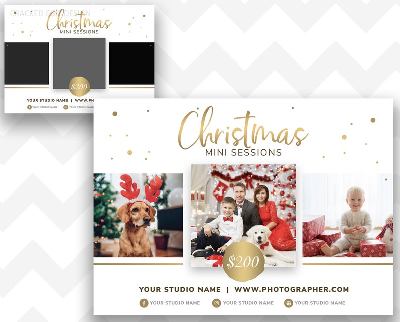 Gold Foil Christmas Mini Session Template For Photographers image 0