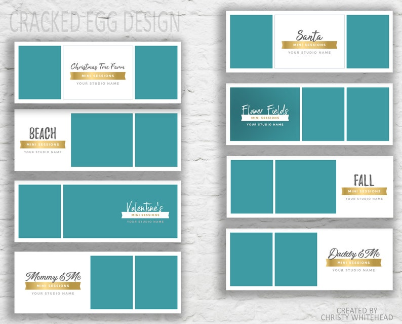 Mini Session Templates, For Photographers, Facebook Timeline Covers,  Father's Day, Christmas, Valentines, Beach Minis, Gold Foil