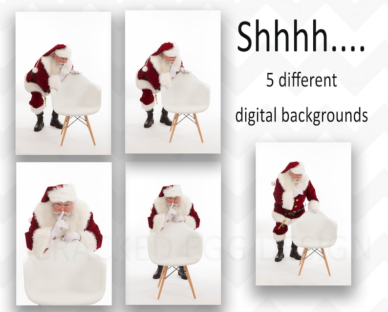 5 Digital Backdrops of Santa with Modern Mid Century Chair image 0