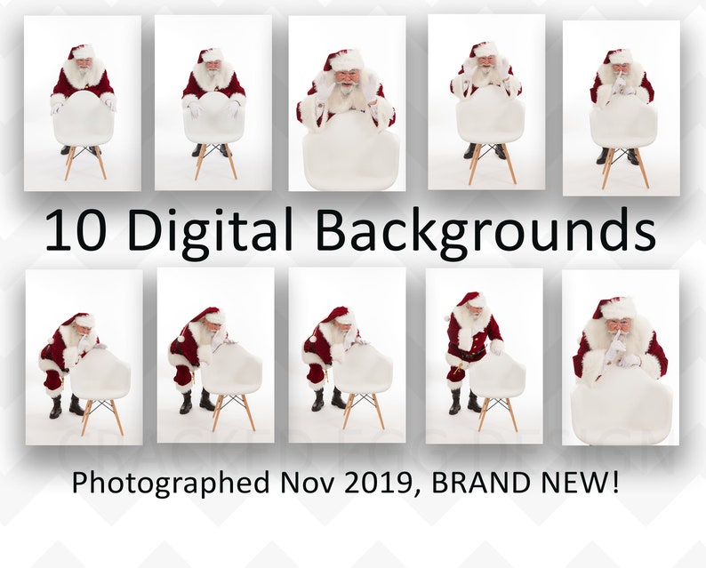10 Digital Backgrounds of Santa on a White Backdrop with White image 0