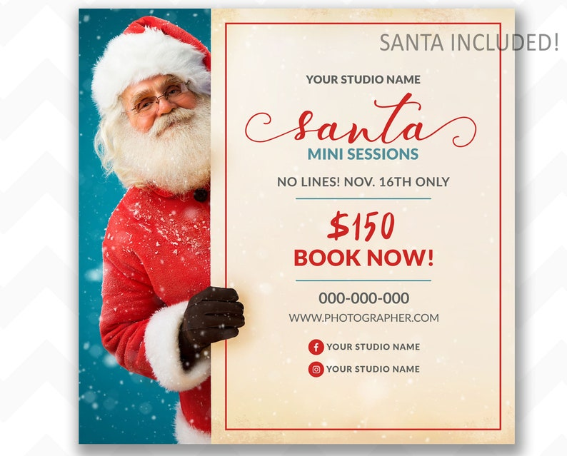 Classic Santa Mini Session Template Write in Your Package image 0