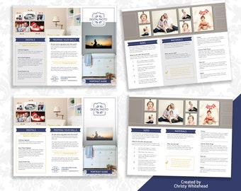 Photographer Template, Product Guide, Trifold Brochure, In Person Sales, Photoshop Template, Navy & Gold 2 versions