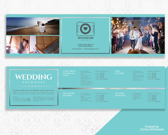 wedding photography brochure pricing packages trifold etsy