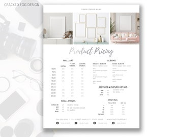Product Pricing Guide Template, Silver, Price Your A La Carte or Add On Items, Custom Product Catalog, In Person Sales, For Photographers