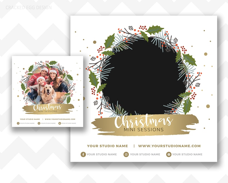 Circle Template Christmas Template for Photographers Pricing image 0
