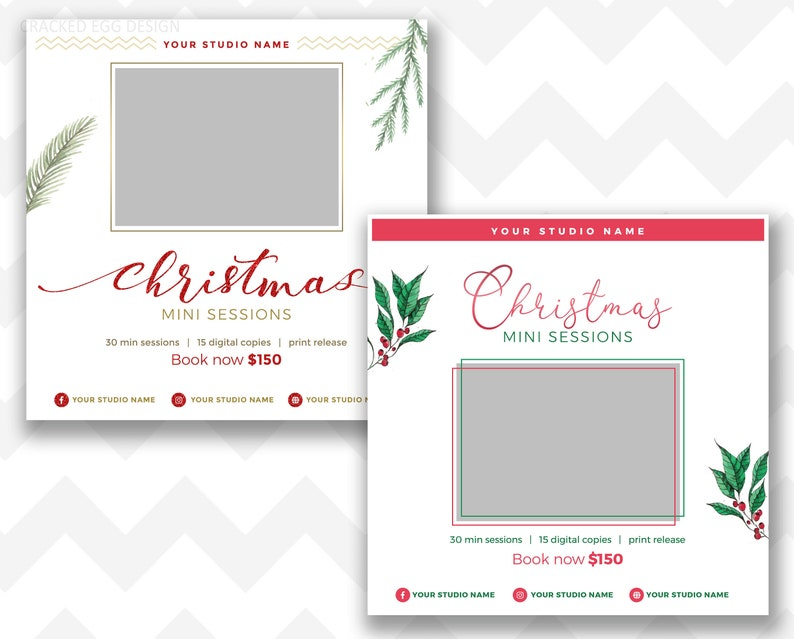 Simple and Clean Christmas Mini Session Template With Red for image 0