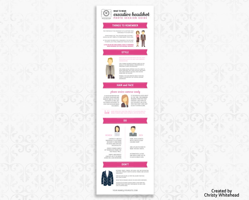 Headshot Template  For Photographers, What To Wear, Photographer Template,  Photoshop, Pinterest, Pink