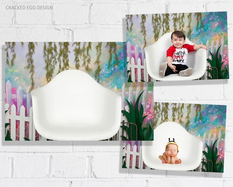 Newborn Photography Digital Backdrop with White Mid Century image 0
