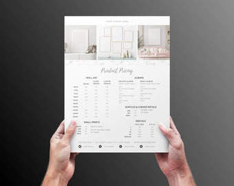 Product pricing guide for photographers, frames, canvas, wall art. Photoshop template with fonts.