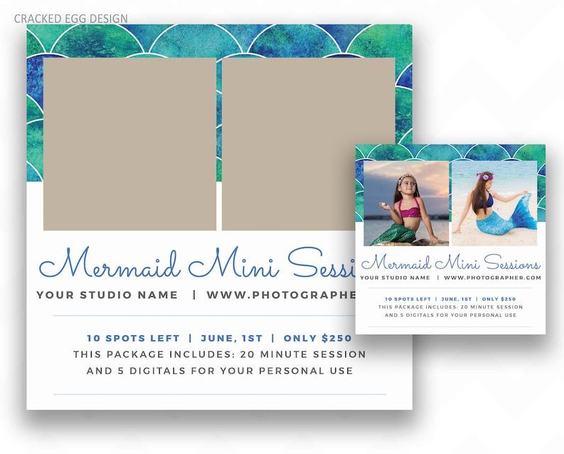 Mermaid Mini Session Photoshop Template for Photographers image 0