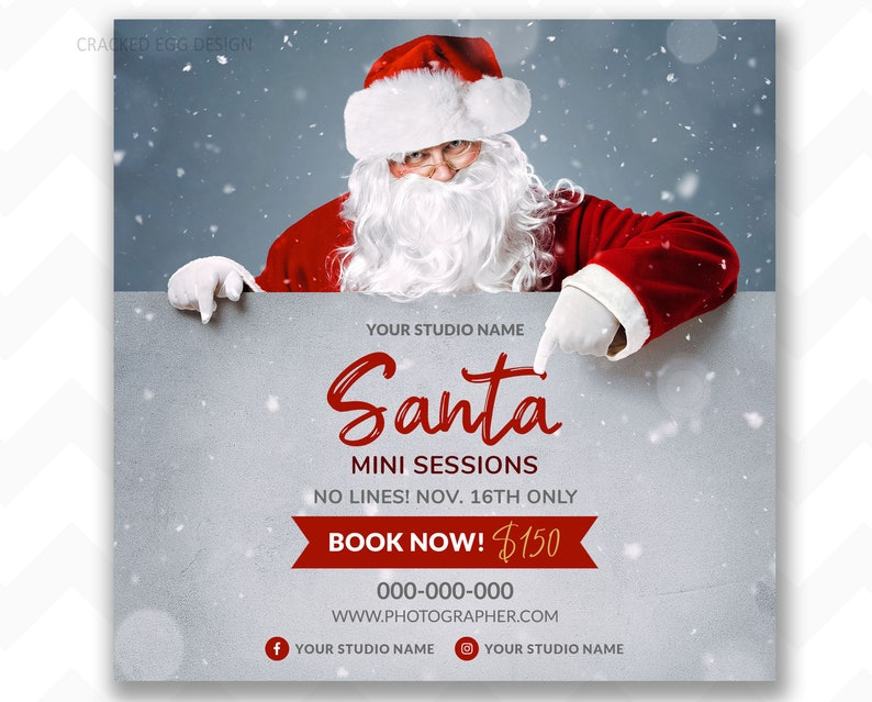 Classic Santa With Beard Photographer's Template for image 0