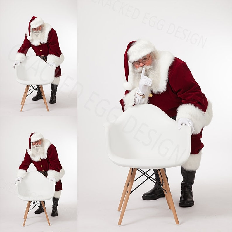 Simple and Clean Backdrop Santa with White Chair Shhhh image 0