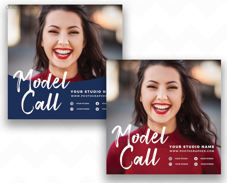 Model Call Template Square Design Ideal for Instagram image 0