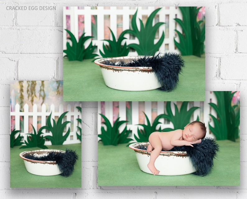 Digital Backdrop with Vintage Wash Tub and Blue Fur For image 0