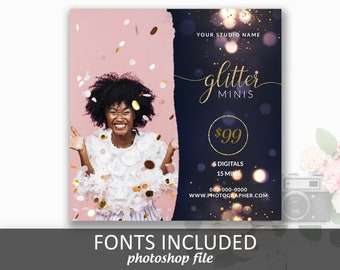 Glitter Mini Session Template, FREE FONTS, For Photoshop, Instagram Square, Mini Sessions, Marketing Template, For Photographers, Pricing